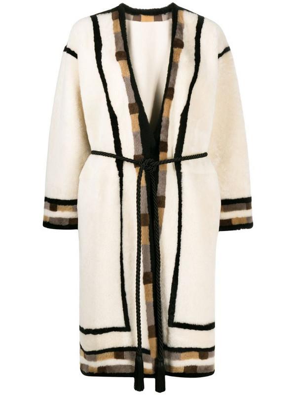 Blancha geometric-trim tie-waist coat in neutrals