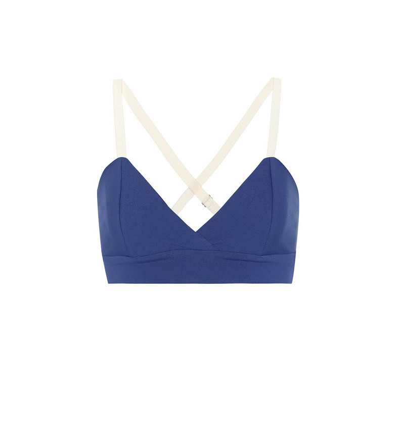 Live The Process V stretch sports bra in blue