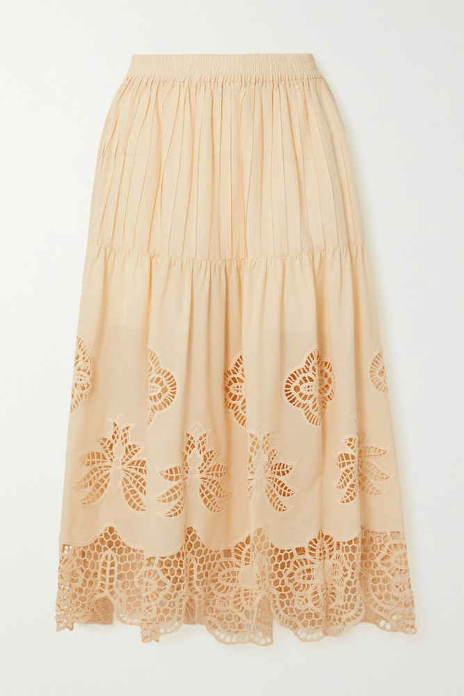 SEE BY CHLOÉ SEE BY CHLOÉ - Pintucked Broderie Anglaise Cotton-voile Midi Skirt - Cream