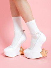 shoes,heels,white,stars