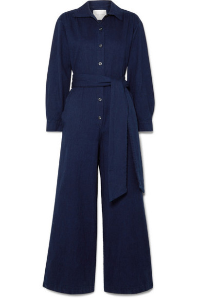King & Tuckfield - Belted Cotton-twill Jumpsuit - Storm blue