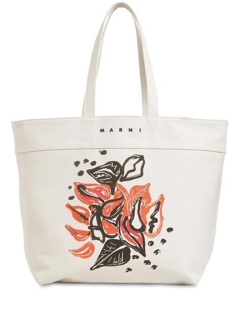 MARNI Printed Cotton Canvas Tote Bag in stone / white