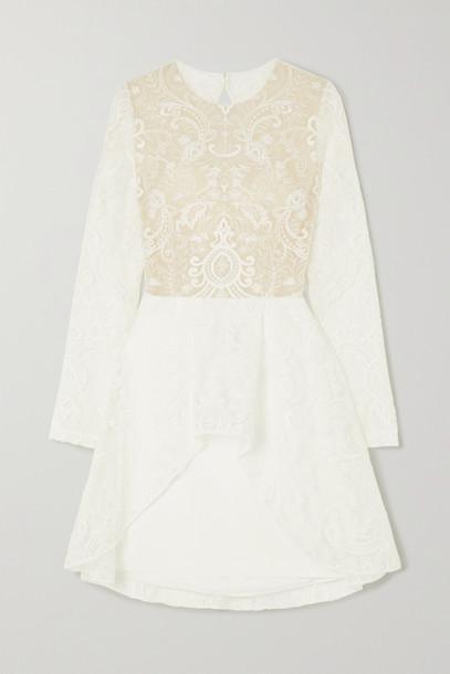 RIME ARODAKY - Sansa Open-back Lace And Crepe Mini Dress - White