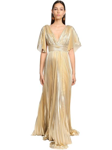 ZUHAIR MURAD Pleated Lamé Long Dress in gold