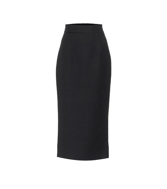 Dolce & Gabbana High-rise wool pencil skirt in black