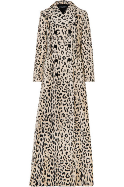 Dolce & Gabbana - Double-breasted Leopard-print Cotton-blend Faux Fur Coat - Leopard print
