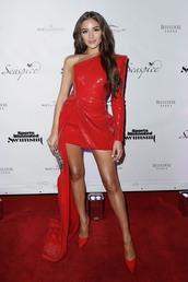 dress,asymmetrical,asymmetrical dress,mini dress,red dress,red,pumps,blogger,olivia culpo