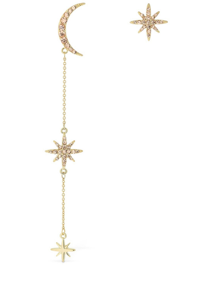 FEDERICA TOSI Asymmetrical Long Moon & Star Earrings in gold