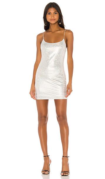superdown Beckie Sparkle Mini Dress in Metallic Silver