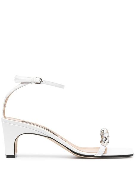 Sergio Rossi sr1 60mm jewel-embellished sandals in white