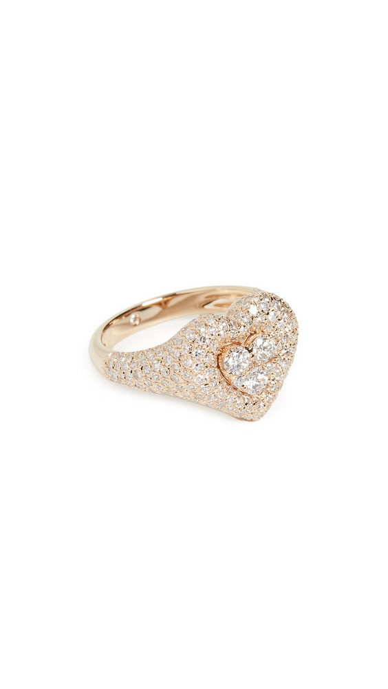 Shay 18k Pave Heart Pinky Ring in gold / yellow