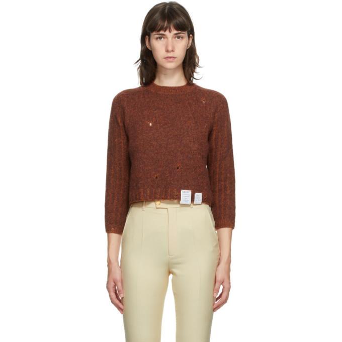 Gucci Brown Ames Soeur Distressed Sweater in brick