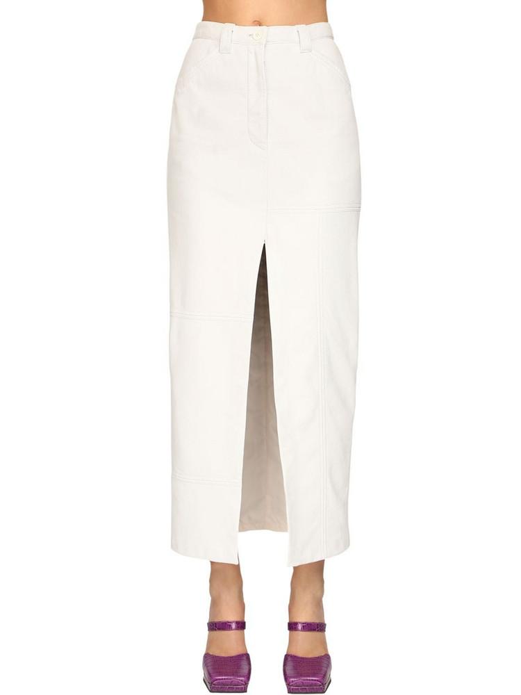 SUNNEI Leather Midi Pencil Skirt in white