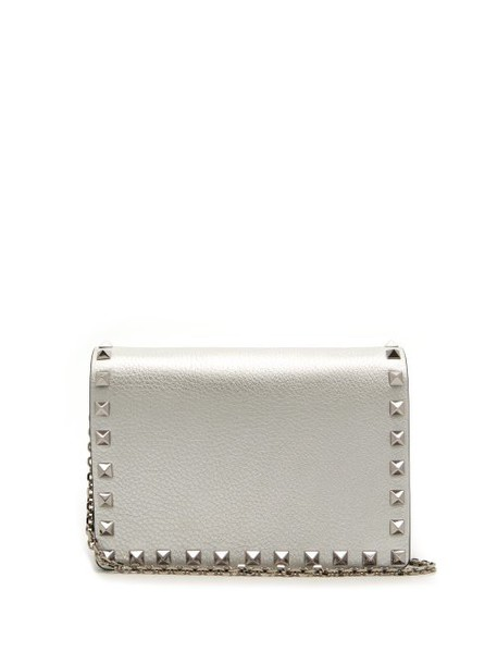 Valentino - Rockstud Metallic Grained Leather Clutch - Womens - Silver