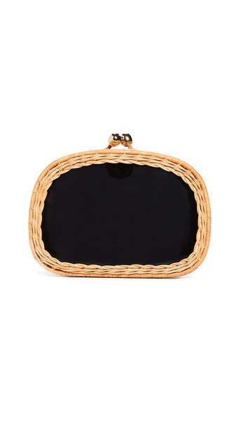 Serpui Marie Mandy Wicker Clutch in black