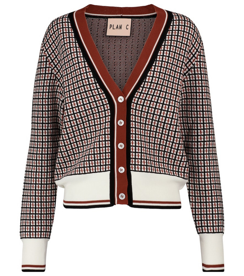 Plan C Checked cotton jacquard cardigan in brown