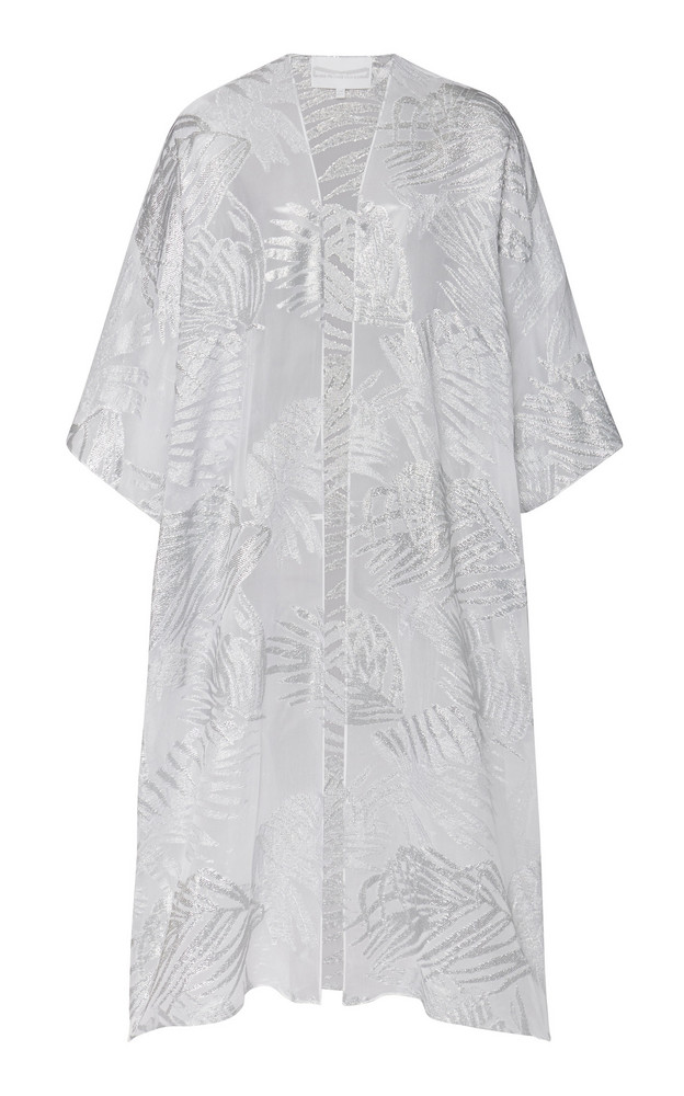 Marie France Van Damme Metallic Embroidered Silk-Blend Cover-Up in white