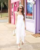 jumpsuit,white jumpsuit,sandals,summer outfits,hat,sunglasses,bag