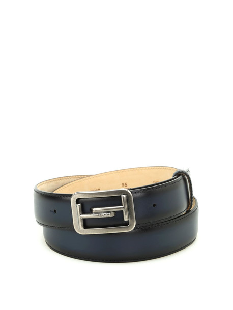 Tod's Double T Buckle Leather Belt in blue