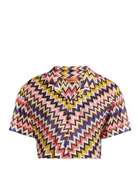 Missoni Mare - Zigzag Short Sleeved Cropped Shirt - Womens - Multi