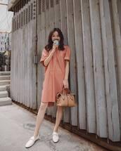 dress,mini dress,peach dress,shoes,loafers,white shoes,bag