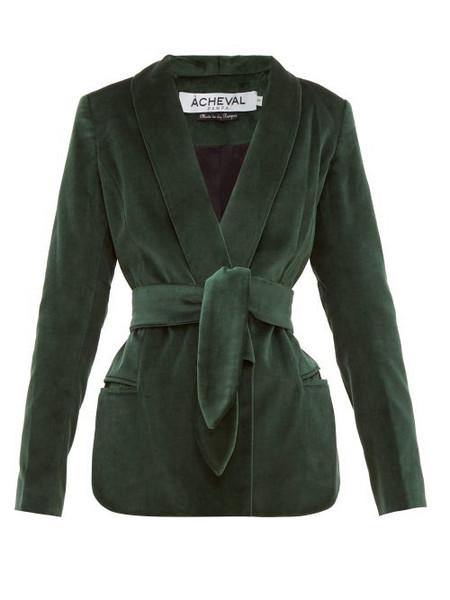 Àcheval Pampa Àcheval Pampa - Tero Cotton Velvet Blazer - Womens - Green