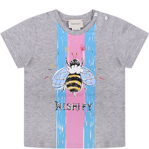 Gucci Grey Babygirl T-shirt With Colorful Iconic Bee And Black Logo