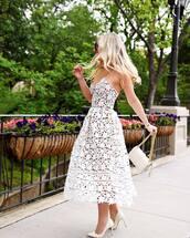 dress,white dress,lace dress,midi dress,pumps,white bag