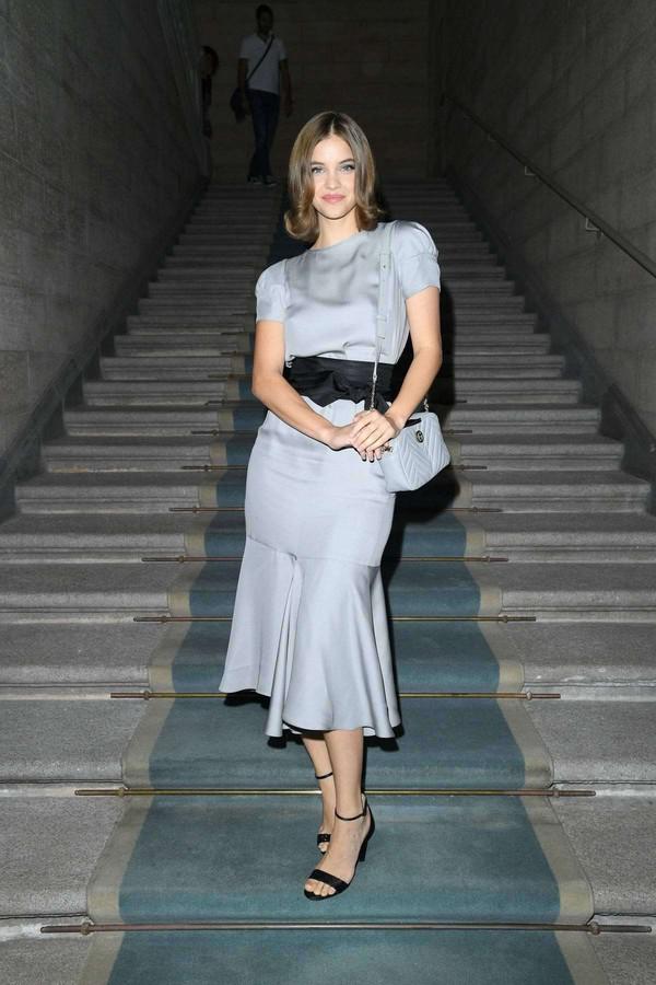 shoes sandals sandal heels barbara palvin model off-duty dress midi dress