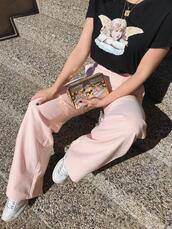 adventures in fashion,blogger,t-shirt,pants,shoes,bag,sunglasses,jewels,pink pants,spring outfits