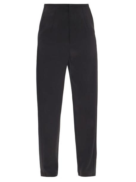 Totême - Evora High-rise Satin Wide-leg Trousers - Womens - Black