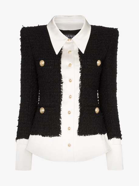Balmain Tweed and satin buttoned jacket in black