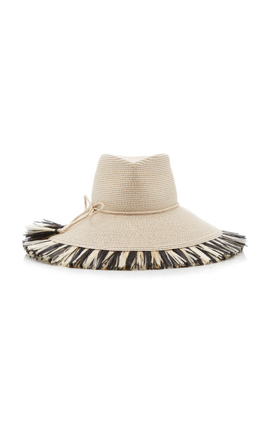 Eric Javits Antigua Fringed Brim Woven Fedora in black