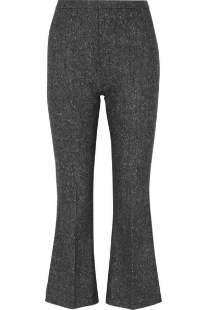 Antonio Berardi - Cropped Wool-tweed Flared Pants - Gray