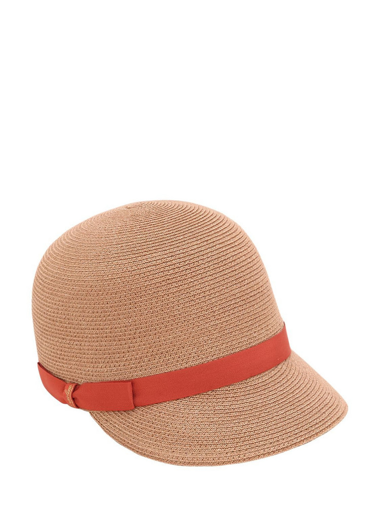 BORSALINO Hemp Baseball Hat in brown / orange