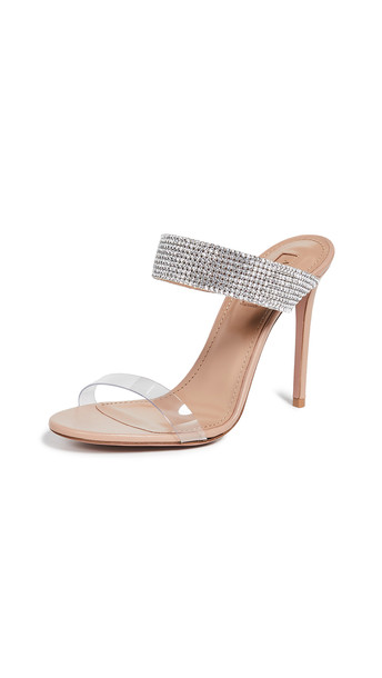 Aquazzura Spritz 105mm Plexy Mules in pink