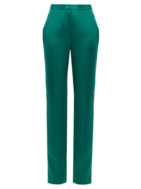 Carolina Herrera - High Rise Straight Leg Satin Trousers - Womens - Green