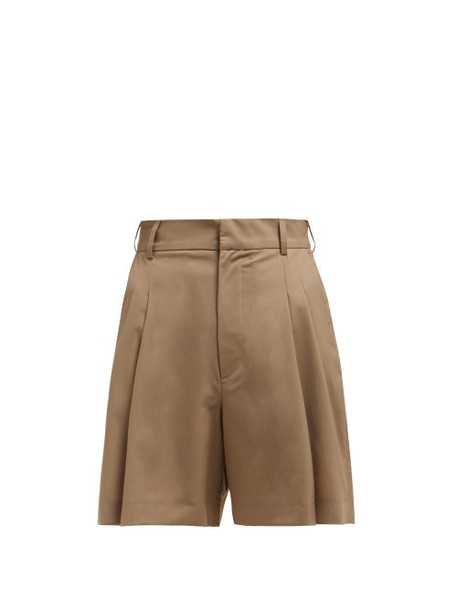 Edward Crutchley - Wide Leg Tailored Wool Shorts - Womens - Beige