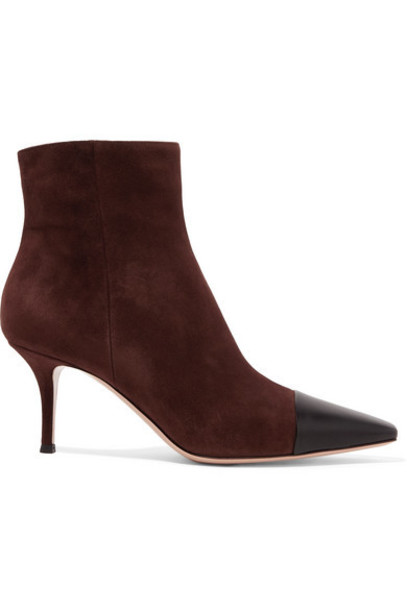 Gianvito Rossi - 70 Two-tone Suede And Leather Ankle Boots - Brown