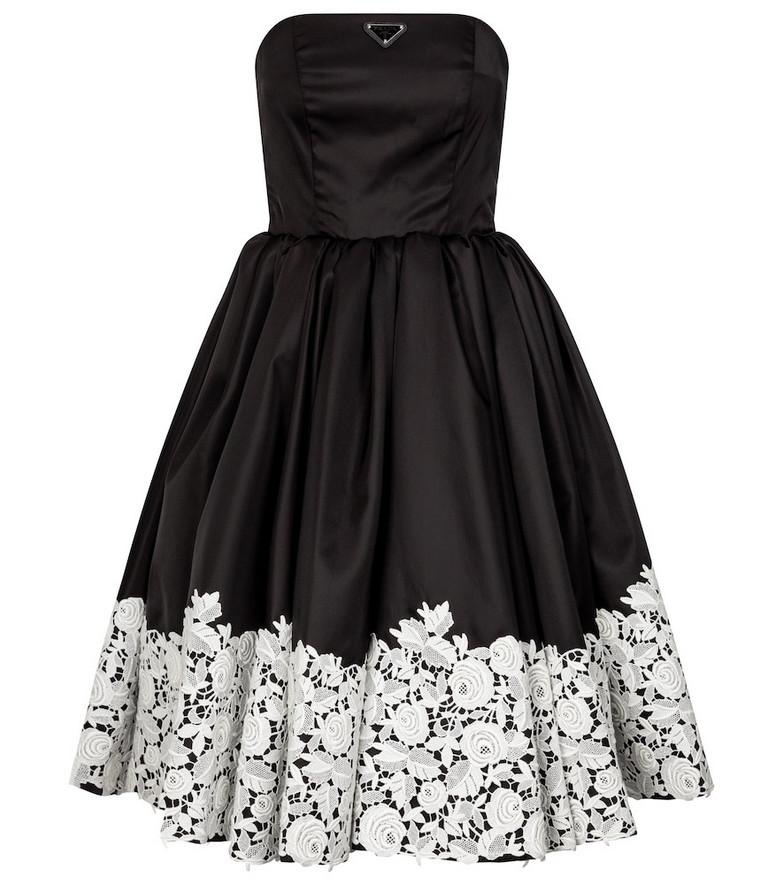 Prada Nylon and lace dress in black