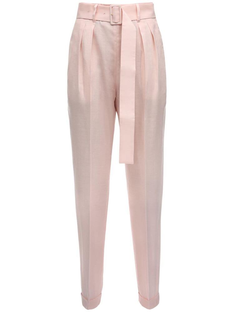 AGNONA High Waist Mohair Blend Pants W/ Belt in pink