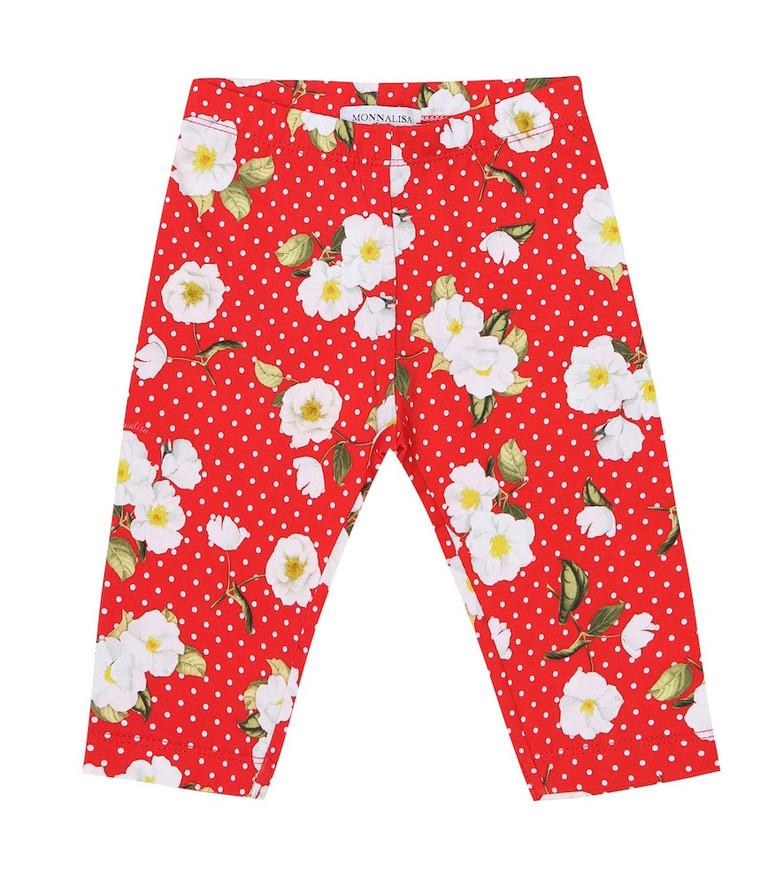 Monnalisa Baby floral stretch-cotton leggings in red