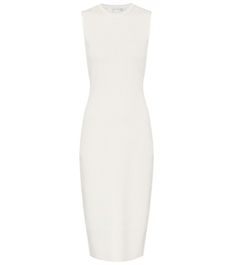 Victoria Beckham Ribbed-knit midi dress in white