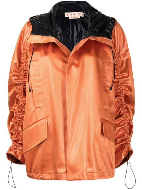 Marni satin hooded jacket in orange