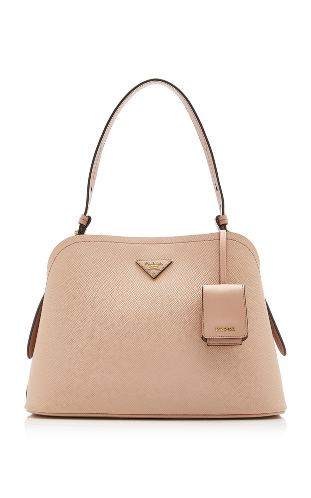 Prada Saffiano Cuir Small Top Handle Bag in brown