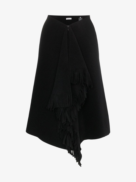 Balenciaga fringe detail knee length skirt in black
