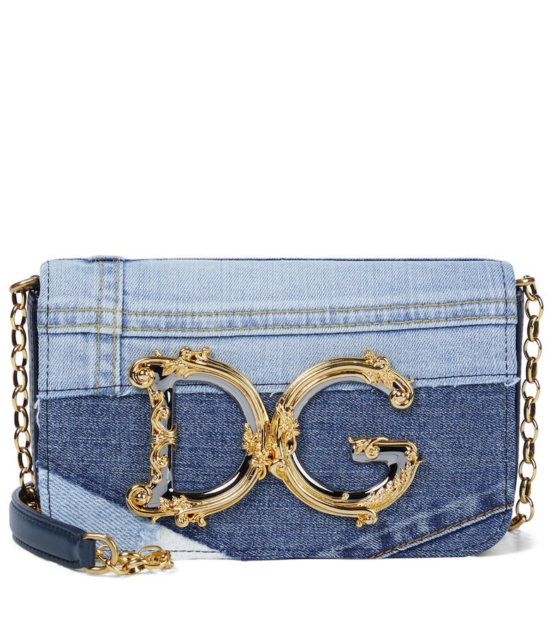 Dolce & Gabbana DG Girls Mini denim shoulder bag in blue