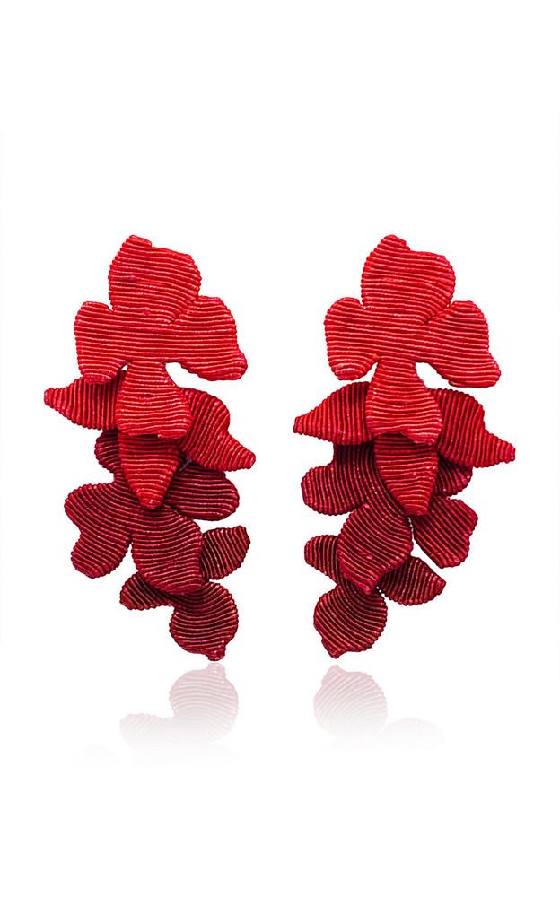 Rebecca de Ravenel Blossom Silk Cord Clip Earrings in red