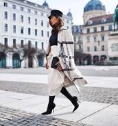 coat,double breasted,plaid,white coat,black boots,sock boots,heel boots,white skirt,midi skirt,tights,black turtleneck top,beret,black bag