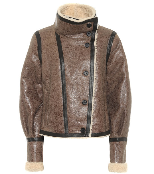 Veronica Beard Selita leather and shearling cropped jacket in brown
